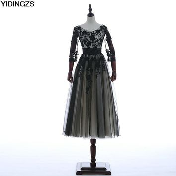 YIDINGZS Black Champagne Elegant Evening Dresses Appliques Half Sleeve Ball Gowns Formal Prom Party Dresses