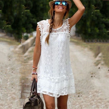 White Crochet Sleeveless Mini Dress