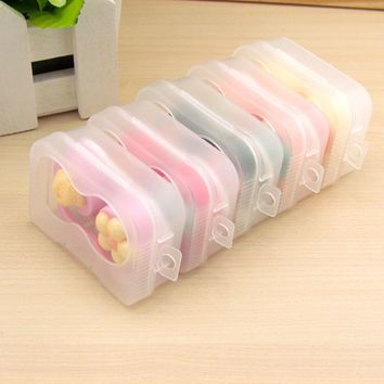 New 1PCS Cartoon Cute plum Glasses double Contact Lenses Box Candy color Contact lens Case for Eyes Care Kit Holder Container
