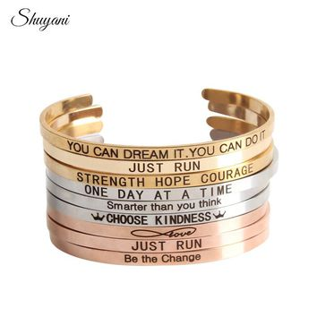 Engraved Positive Inspirational Quote Bracelet New Stainless Steel Stamped Letter Cuff Mantra Bracelet Bangle For Women Bracelet