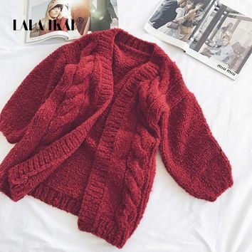 LALA IKAI Winter Solid Knitted Women Sweaters New Fashion V-Neck Female Sweaters Elegant Thick Wool Ladies cardigans SWA1995-47