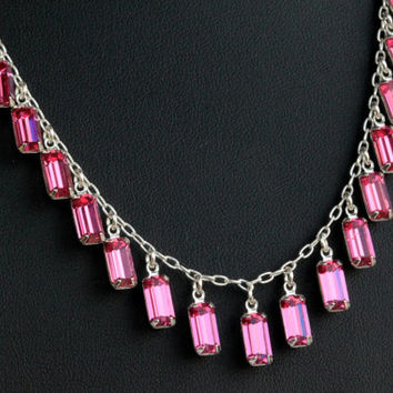 Swarovski Crystal Necklace - fuschia baguette crystals.  Wedding Jewelry.  Bridal Jewelry.  One of a Kind.