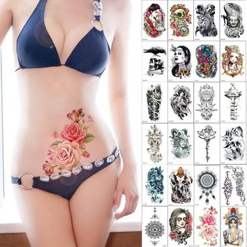 1 piece Trendy temporary tattoo arm flower rose Buddha Manipulator feather carp Dreamcatcher jewel pirate skull tattoo stickers
