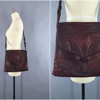 Vintage 1970s Leather Handbag / 1960s Shoulder Bag / Crossbody Purse / 1960 Boho Bohemian / 60s Hippie Purse