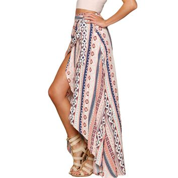 Echoine 2017 Summer Women Ethnic Print Maxi Skirt Wrap Style High Low Full Length Long Skirts