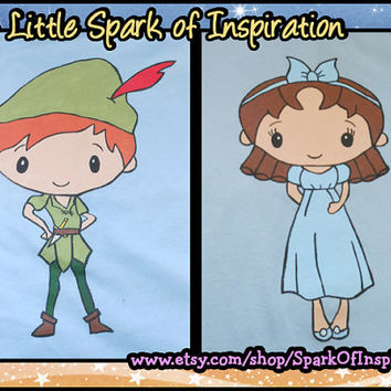 His & Hers Disney Cuties - Peter Pan and Wendy Neverland Couples Shirts