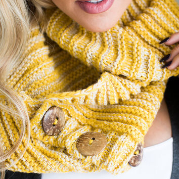 Go For It Knit Button Infinity Scarf Mustard