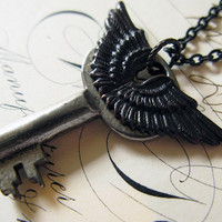 Steampunk necklace for men winged Steampunk jewelry for man blackened wings skeleton key vintage adorned key jewelry