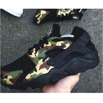 """NIKE""AIR Huarache Running Sport Casual Shoes Sneakers black contrast camouflage green"