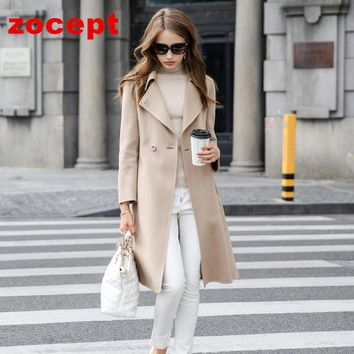 zocept Autumn Winter New High-end Double-Sided Cashmere Coat Women Long-Sleeved Wool Solid Long Jacket Female Wwarm Clothes