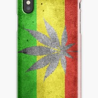 'Dark ragga pattern, cannabis and flag' iPhone Case by cool-shirts