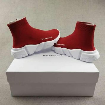 Red BALENCIAGA Boots Casual Running Sport Shoes Sneakers