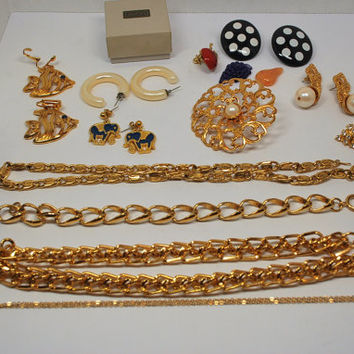 Lot of VIntage Avon Jewelry from 1980s Early 1990s Earrings Pins Necklaces Bracelet