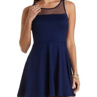 Textured Mesh Yoke Skater Dress by Charlotte Russe - Navy