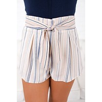 Better Now Striped Tie Front Shorts (Blush)