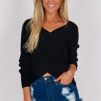Long Sleeve Cross Sweater Black