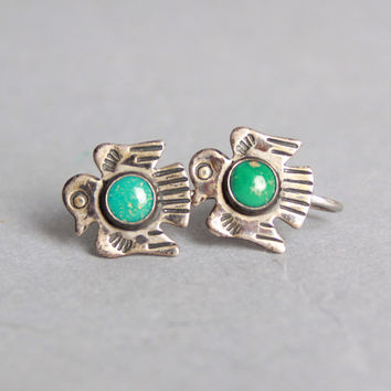 50s Navajo THUNDERBIRD EARRINGS / Sterling Silver & Turquoise Screwback Clip On