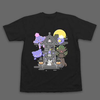 House of Ghost Pokemon T-Shirt HEAT TRANSFER PRINT Trevenant Pumpkaboo Chandelure Litwick Mimikyu Mismagius Haunter Drifloon Banette Duskull
