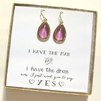 Set of 8 Purple Gold Earrings, Bridesmaid Purple Plum Earrings, Bridesmaid Jewelry Gift, Bridal Party Gifts, Voilet, ES8