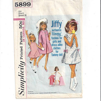 Simplicity 5899 Pattern for Tammy Fashion Dress for Girls & Tammy Doll, Jiffy, From 1965, Vintage Pattern, Home Sewing, 1965 Fashion Sewing