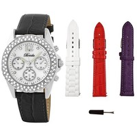 "Breda Women's 5113_Black.3bands ""Victoria"" Collection With Three Bands and Rhinestone Encrusted Mother-Of-Pearl Dial Watch Gift Set"