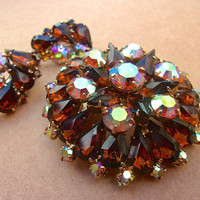 Root Beer AB Rhinestone Domed Brooch Earring Set, Juliana Style, Vintage