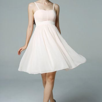 Champagne Wedding dress/Silk Chiffon party dress/ bridesmaid dress/Prom/ handmade/ knee length formal dress - NC521
