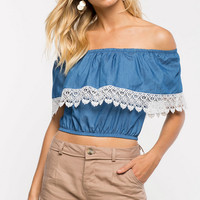 Lace Trim Denim Top 11715
