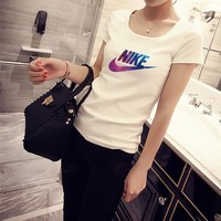 """Nike"" Women Casual Simple Galaxy Letter Logo Print Short Sleeve Bodycon T-shirt Top Tee"