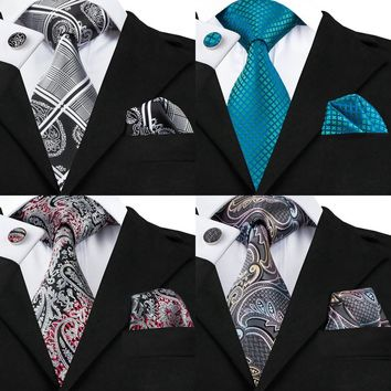 Men's Silk Tie Set Necktie Hanky Cufflinks Set
