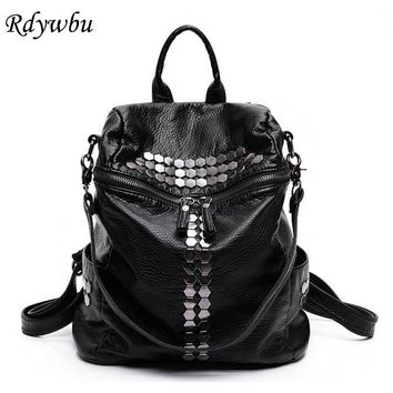 Rdywbu High Quality Star Backpack Wash Water PU Leather Travel Bag Women Leisure Rivets Girl Large Capacity Stud Schoolbag H104