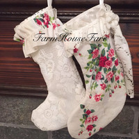 Shabby Chic Christmas Stockings Vintage White Lace Floral Holiday Wall Hanging Hand Made Gift for Her Set of 2 Fully Lined Stocking