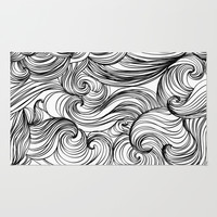 Free Flow White & Black Rug by 83oranges.com