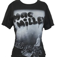 Mac Miler Girls Juniors T-Shirt - Spitting on Stage Dripping Spray Paint Logo (Extra Large) Black
