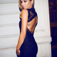 'The Morgan' Backless Lace Mini Dress available in Black or White