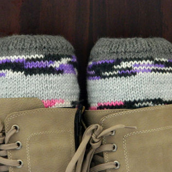 Multicolored Short Knit Boot Cuffs. Short Leg Warmers..Hand Knit Boot Cuffs. denim Legwear