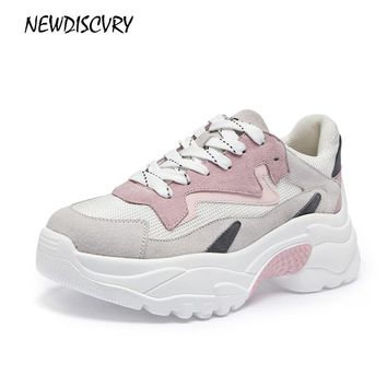 NEWDISCVRY Suede Leather Mesh Women Platform Chunky Sneakers 2018 Fashion Women's Flat Thick Sole Shoes Woman Dad Footwear