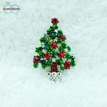 SUSENSTONE Fashion Chain Jewelry Christmas Tree Rhinestone Brooch Jewelry