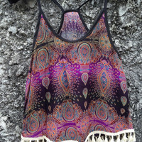 Camisole Top with Tassles Tribal Bohemian Boho Hobo Hippies Peacock Print Aztec Strappy Tank Beach Clothing Summer fashion Cloth Purple Cami