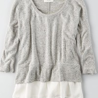 AEO Plush Scoop Neck Sweatshirt, Grey | American Eagle Outfitters