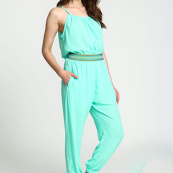 Mint Embroidered Woven Jumpsuit - LoveCulture