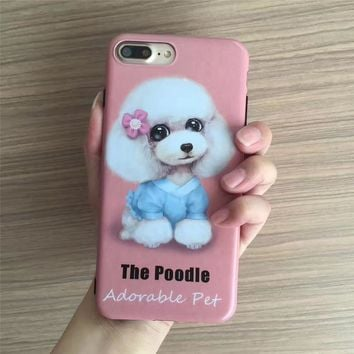 3D Cute Cartoon Animal Dog Poodle case  For iphone 7 Case Soft imd Dog cute eyes Back Cover For iPhone 6 s 7 Plus Hot Phone Case