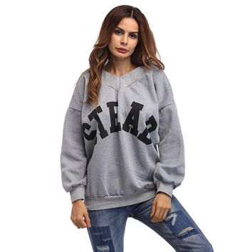 Casual Long Sleeve Scoop Neck Letter Print Sexy Pullovers Knitted Tops