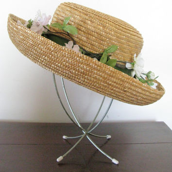 Vintage Straw Hat, Plaza Suite by Betmar Classic Woven Straw Hat, Cherry Blossom Hat