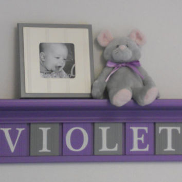 """Baby Girl Name Sign Nursery Decor 30"""" Lilac Shelf with 8 Letter Wooden Tiles Painted Purple and Gray - VIOLET with Flowers"""