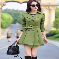 Autumn 2016 Elegant Trench Coats For Women Fashion Bow Outerwear Long Slim Double Breasted Coats 6 Colors C8076