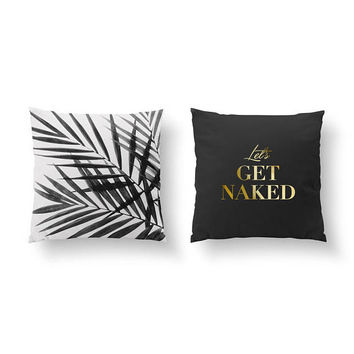 SET of 2 Pillows, Let's Get Naked, Gold Pillow, Botanical Pillow, Three Palm Leaves, Bed Pillow, Throw Pillow, Cushion Cover, Tropical Art