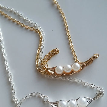 18kt Gold plated Three peas in a pod bff necklace gift set-2 necklaces-Food jewelry