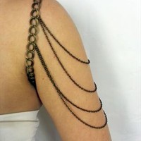 Bronze shoulder chain arm harness cuff from beedjewellery