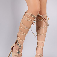 Nubuck Open Toe Corset Lace Up Gladiator Heel